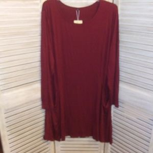 Dresses & Skirts - 🆕 RED long sleeved dress with POCKETS ! So Cute